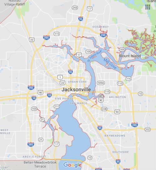 Jacksonville, Orange Park, Jax Beaches Map